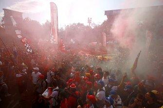 Ferrari fans celebrate a victory