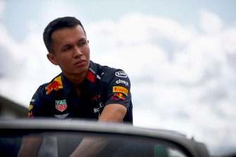 Alex Albon, Red Bull Racing, in the drivers parade