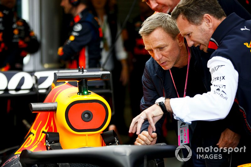 Christian Horner, Team Principal, Red Bull Racing with Actor Daniel Craig
