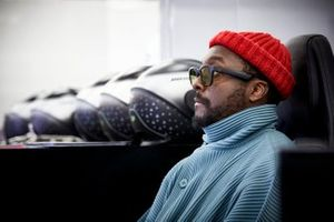 Will.i.am in the Mercedes garage