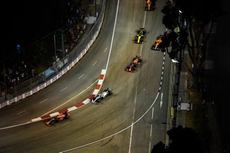Max Verstappen, Red Bull Racing RB15, leads Valtteri Bottas, Mercedes AMG W10, Alexander Albon, Red Bull RB15, Carlos Sainz Jr., McLaren MCL34, and Nico Hulkenberg, Renault F1 Team R.S. 19