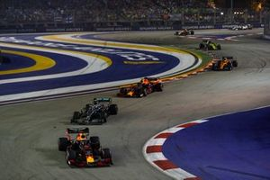 Max Verstappen, Red Bull Racing RB15, leads Valtteri Bottas, Mercedes AMG W10, Alexander Albon, Red Bull Racing RB15, and Lando Norris, McLaren MCL34