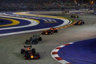 Max Verstappen, Red Bull Racing RB15, leads Valtteri Bottas, Mercedes AMG W10, Alexander Albon, Red Bull Racing RB15, and Lando Norris, McLaren MCL34