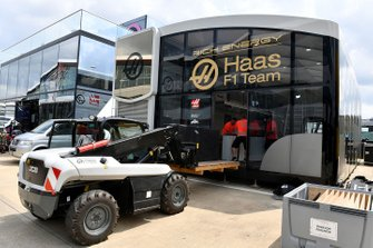 Haas F1 set up their hospitality centre