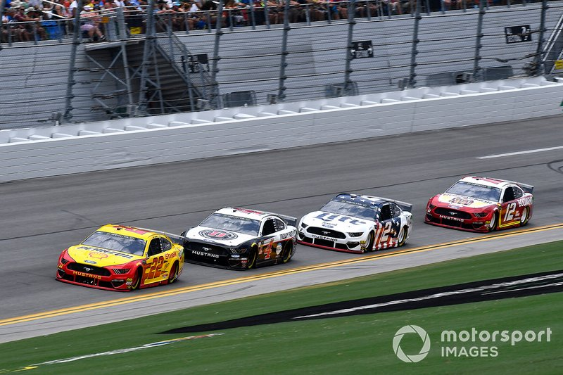 Joey Logano, Team Penske, Ford Mustang Shell Pennzoil, Kevin Harvick, Stewart-Haas Racing, Ford Mustang Jimmy John's, Brad Keselowski, Team Penske, Ford Mustang Miller Lite, and Ryan Blaney, Team Penske, Ford Mustang BodyArmor