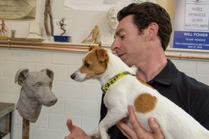 Simon Pagenaud, Team Penske with his dog Norman