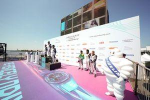 The PRO AM podium: Race winner Bandar Alesayi, Saudi Racing, Yaqi Zhang, Team Chin, 2nd position, Ahmed Bin Khanen, Saudi Racing, 3rd position