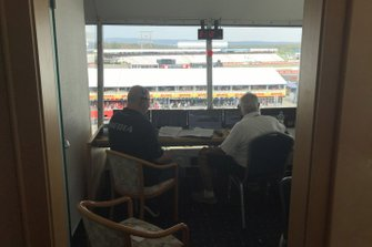 Commentator box with Stefan Heinrich and Bob Constanduros