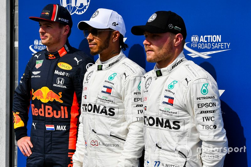 Top three Qualifiers Max Verstappen, Red Bull Racing, pole man Lewis Hamilton, Mercedes AMG F1, and Valtteri Bottas, Mercedes AMG F1