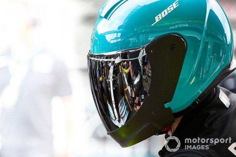 AMG Mercedes F1 mechanics conduct pit stop practice
