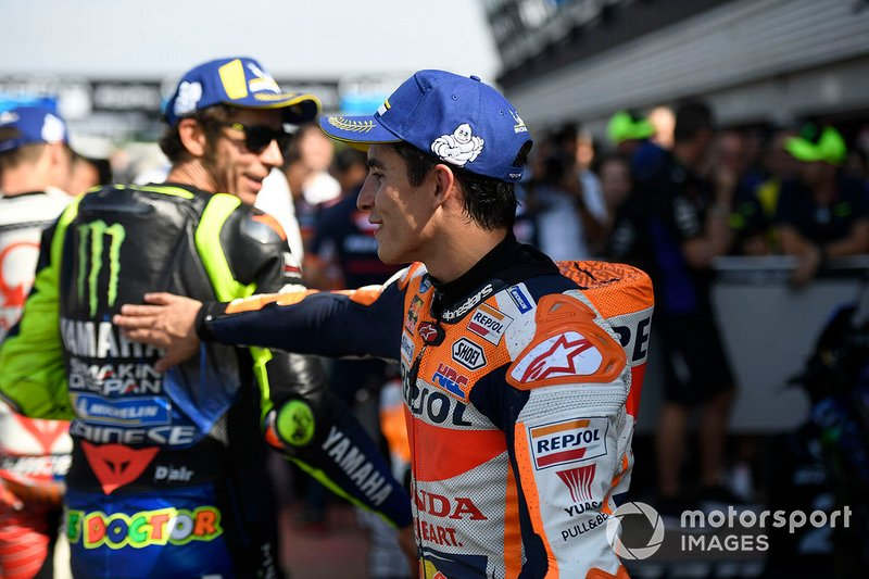 Polesitter Marc Marquez, Repsol Honda Team, second place Valentino Rossi, Yamaha Factory Racing