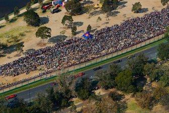Sebastian Vettel, Ferrari SF90, leads Max Verstappen, Red Bull Racing RB15, Charles Leclerc, Ferrari SF90, Kevin Magnussen, Haas F1 Team VF-19, and Romain Grosjean, Haas F1 Team VF-19