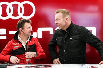 Allan McNish, Team Principal, Audi Sport Abt Schaeffler, talks to Olympic gold medalist Sir Chris Hoy in the Audi garage