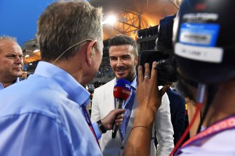 David Beckham is interviewed on the grid by Martin Brundle, Commentator, Sky Sports F1