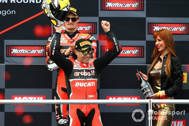1. Alvaro Bautista, Aruba.it Racing-Ducati Team, 3. Chaz Davies, Aruba.it Racing-Ducati Team