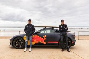 Three-time surfing world champion Mick Fanning takes Max Verstappen and Pierre Gasly surfing in Torquay