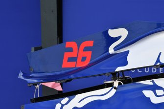 Daniil Kvyat's Toro Roso STR14 bodywork in the pit lane, and number 26 detail