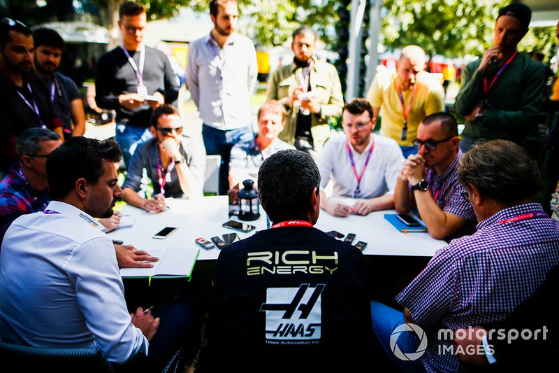 Guenther Steiner, Team Principal, Haas F1 Team speaks with the media