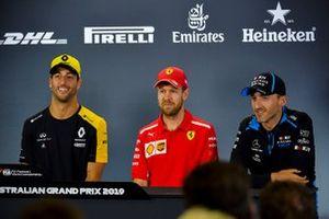 Daniel Ricciardo, Renault F1 Team, Sebastian Vettel, Ferrari and Robert Kubica, Williams Racing in Press Conference