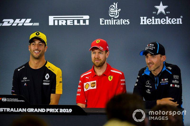 Daniel Ricciardo, Renault F1 Team, Sebastian Vettel, Ferrari and Robert Kubica, Williams Racing basın toplantısında