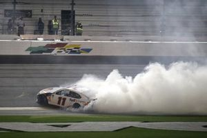 Denny Hamlin, Joe Gibbs Racing, Toyota Camry FedEx Express celebrates his second win of the Daytona 500