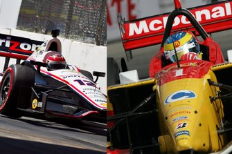 Collage: Will Power in Long Beach 2012, Sebastien Bourdais in Long Beach 2006