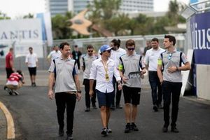 Felipe Massa, Venturi Formula E, walks the track with team members
