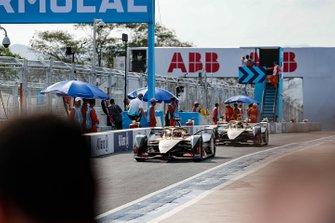 Jean-Eric Vergne, DS TECHEETAH, DS E-Tense FE19, Andre Lotterer, DS TECHEETAH, DS E-Tense FE19, down the pit lane