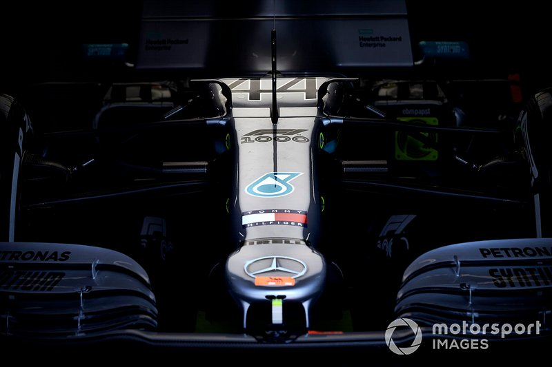 The nose of the car of Lewis Hamilton, Mercedes AMG F1 W10