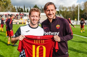 Sam Bird, Envision Virgin Racing with Roma Player Francesco Totti at the Formula E charity football match
