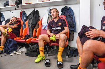 Roma player Francesco Totti in the changing rooms
