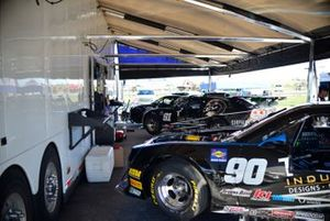 Crew work on the #90 TA2 Chevrolet Camaro driven by Justin Napoleon of Napoleon Motorsports