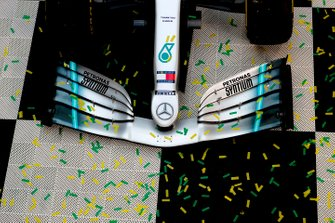 Confetti around the car of Valtteri Bottas, Mercedes AMG W10, 1st position,