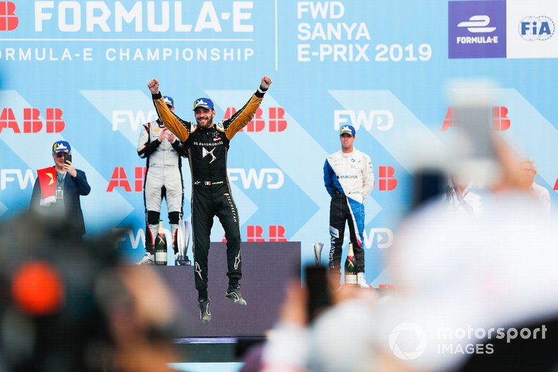 Jean-Eric Vergne, DS TECHEETAH, jumps in celebration on the podium