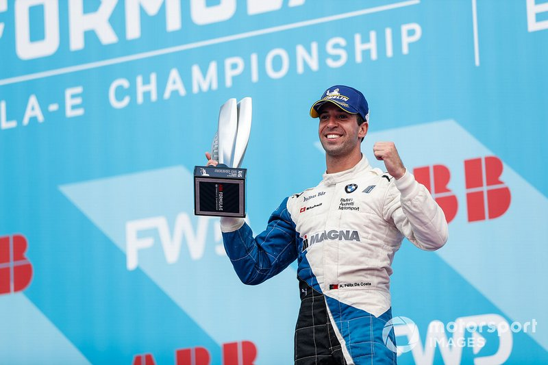 Antonio Felix da Costa, BMW I Andretti Motorsports, celebrates on the podium