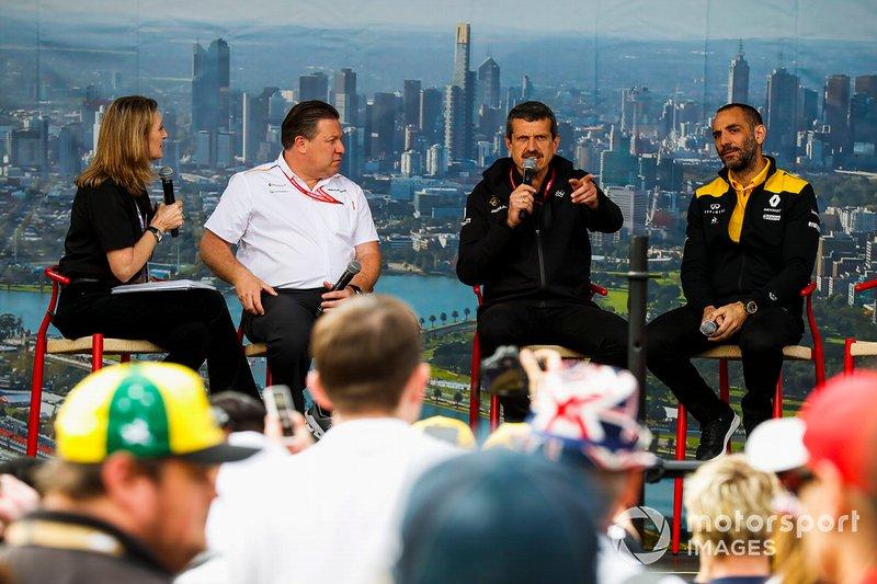 Зак Браун, виконавчий директор McLaren, Гюнтер Штайнер, керівник команди Haas F1, та Сіріль Абітбуль, керівний директор Renault F1 Team