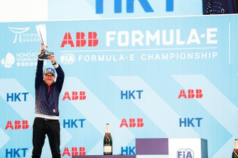 Chris Gorne, Envision Virgin Racing Technical Director collects the constructors' trophy on the podium