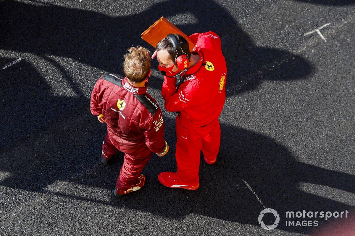 Sebastian Vettel, Ferrari, en pit lane