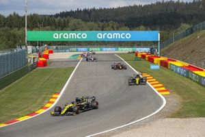 Daniel Ricciardo, Renault F1 Team R.S.20, Esteban Ocon, Renault F1 Team R.S.20, Alex Albon, Red Bull Racing RB16, and Lance Stroll, Racing Point RP20