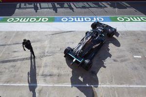Lewis Hamilton, Mercedes F1 W11, leaves the garage