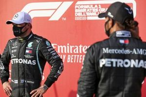 Pole Sitter Valtteri Bottas, Mercedes-AMG F1 and Lewis Hamilton, Mercedes-AMG F1 in Parc Ferme