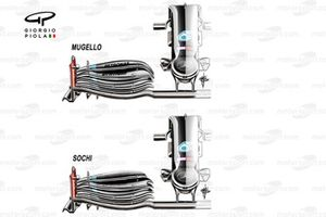Mercedes F1 W11 front wing comparison