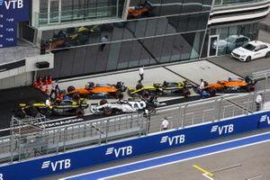 The cars of Esteban Ocon, Renault F1 Team R.S.20, Lando Norris, McLaren MCL35, Pierre Gasly, AlphaTauri AT01, Daniel Ricciardo, Renault F1 Team R.S.20, and Carlos Sainz Jr., McLaren MCL35, in Parc Ferme after Qualifying