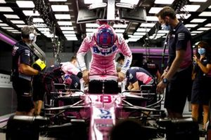 Lance Stroll, Racing Point, settles into his seat