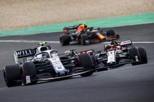 Nicholas Latifi, Williams FW43, Kimi Raikkonen, Alfa Romeo Racing C39, and Alex Albon, Red Bull Racing RB16