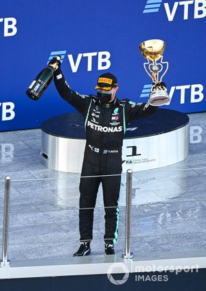 Valtteri Bottas, Mercedes-AMG F1, 1st position, celebrates on the podium