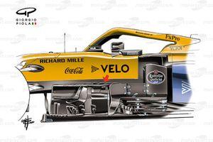 McLaren MCL35 new bargeboards, Eifel GP