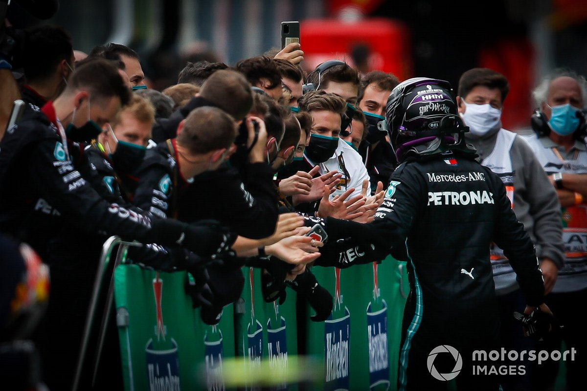 Lewis Hamilton, Mercedes-AMG F1, 1st position, arrives in Parc Ferme after securing his record beating 92nd win
