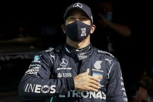 Lewis Hamilton, Mercedes-AMG F1, celebrates after securing pole