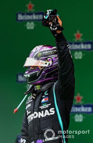 Lewis Hamilton, Mercedes-AMG F1, 1st position, celebrates on arrival in Parc Ferme
